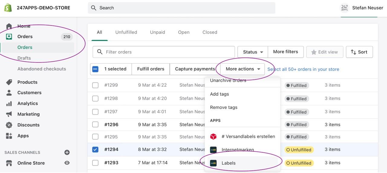 Versandlabel über die Shopify Bestellungenübersicht